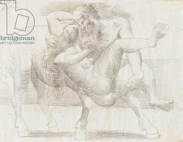 Nessus and Deianira, September 22, 1920 (graphite on paper)