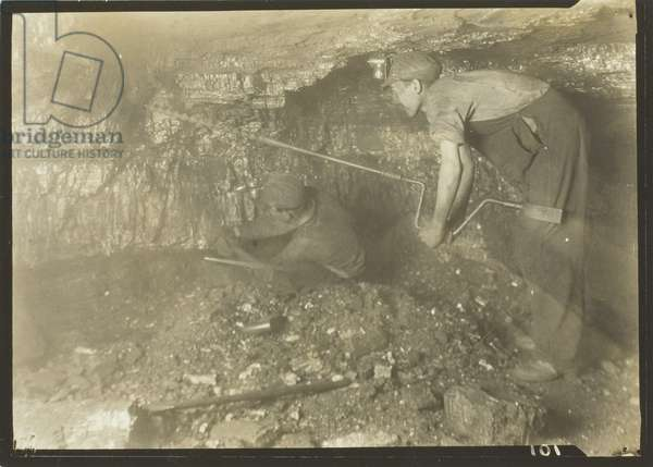 Drilling For A Shot: Old-Fashioned Way Of Mining Coal, 1921 (gelatin silver print)