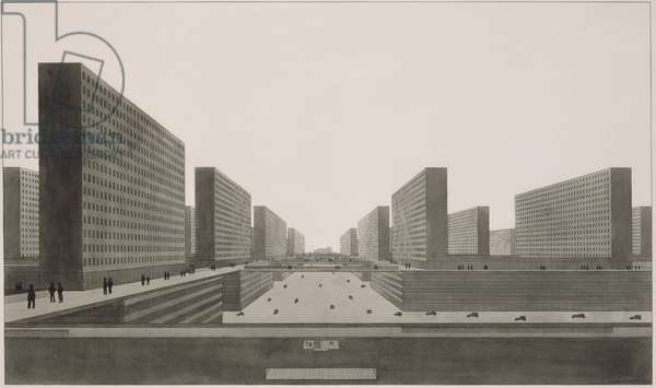 Highrise City (Hochhausstadt): Perspective View: North-South Street, 1924 (ink & w/c on paper)
