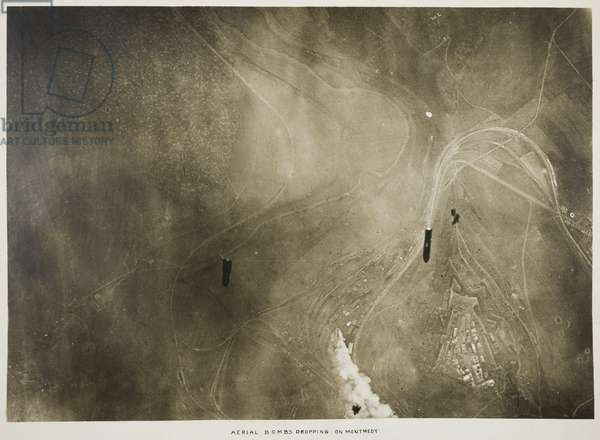 Aerial Bombs Dropping on Montmedy, 1918 (gelatin silver print)