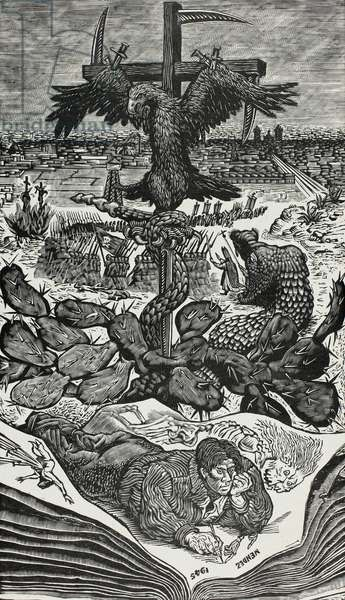 What May Come (Mexico, 1945), 1945 (wood engraving in black on grayish-ivory china paper)
