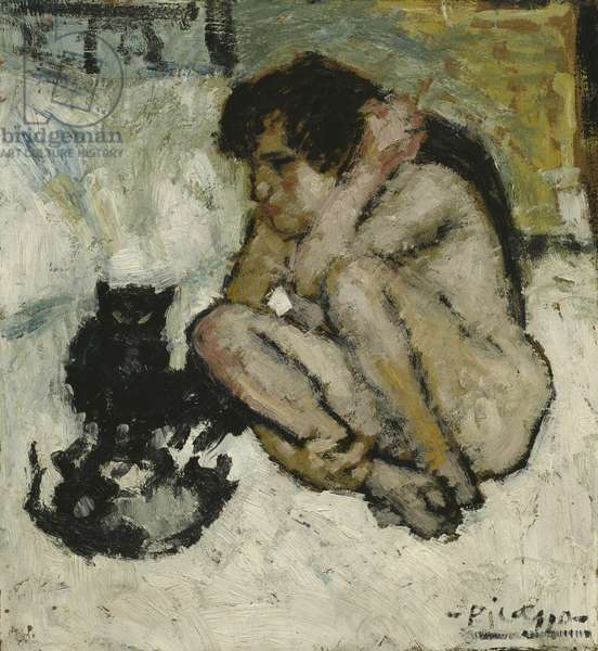 Crazy Woman with Cats, 1901 (oil on pulp board)