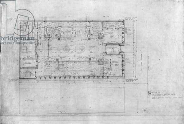 Peoples Savings Bank, Cedar Rapids, Iowa: Main Floor Plan, 1909-11 (black & red ink on linen)