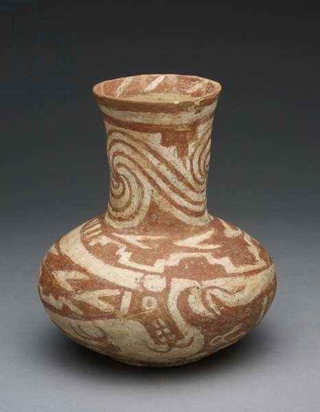 Bottle with Underwater Serpents, 1300-1500 (earthenware & pigment)