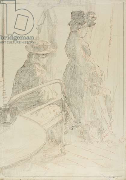 The Passing Funeral, 1912-13 (graphite, with red chalk, on cream laid paper)