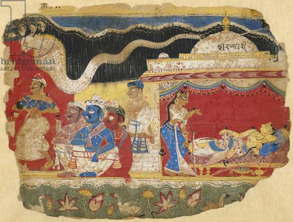 The Infant Krishna Spirited Away by Vasudev, page from the Dispersed Bhagavatapurana manuscript, c.1520-30  (opaque w/c on paper)