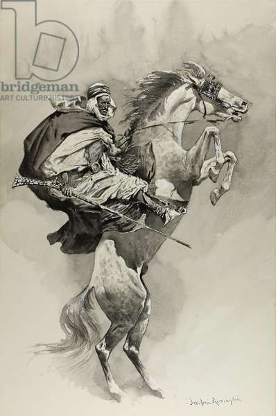 Mubarek the Arabian Chief (brush and black grey wash heightened with white gouache over graphite, on cream laminate board)