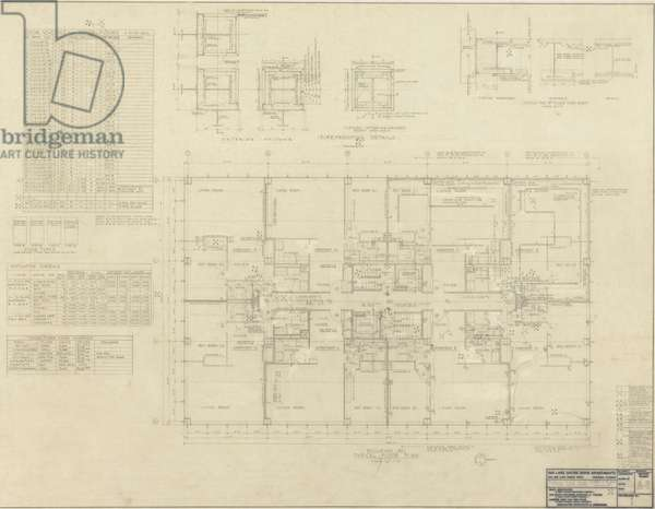 860–880 North Lake Shore Drive: Typical Floor Plan, 11-22-1949  (graphite on linen)