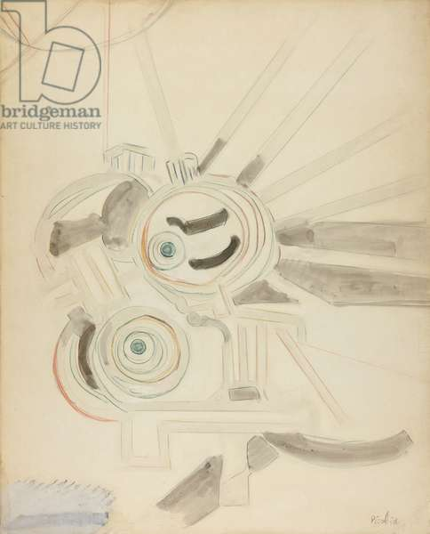 Machine, 1913 (graphite and watercolour on white wove paper, mounted on board)
