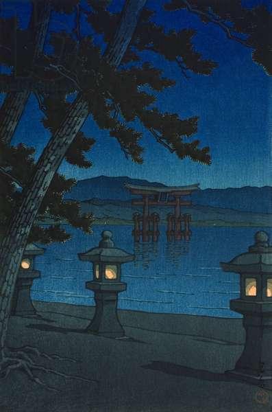 Moonlit Night at Miyajima (Miyajima no tsukiyo), 1947 (color woodblock print)