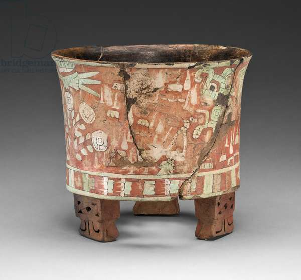 Tripod Vessel with a Blowgunner Scene, from Teotihuacan, Mexico, 300-500 (ceramic, stucco, & pigment)