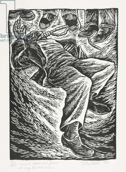And a Special Fear for My Loved Ones, from The Black Woman [formerly The Negro Woman] (published 1946-47), 1947, printed 1989 (linocut in black on cream wove paper)