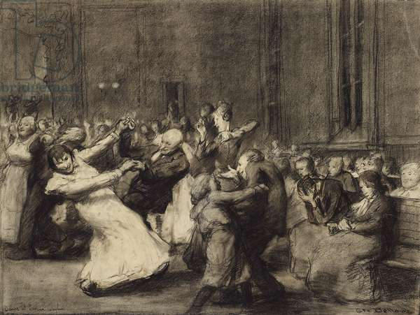 Dance at Insane Asylum, 1907 (charcoal, with stumping, pen & black ink, brown crayon, & touches of white chalk on ivory wove paper)