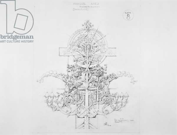 System of Architectural Ornament: Plate 8, Parallel Axes, Further Development (Parallelism), 1922-23 (graphite on strathmore paper)