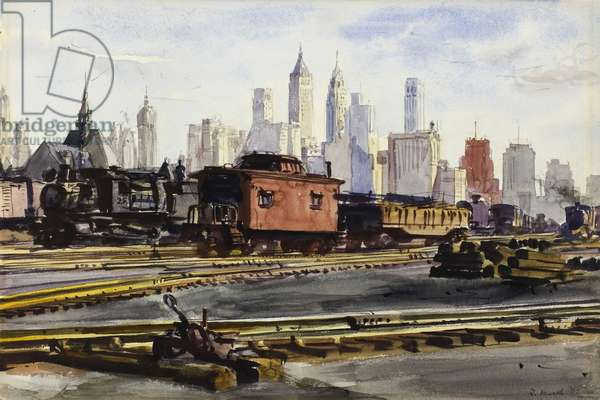 Railroad Yards with New York Skyline, 1932 (watercolour, over graphite, on cream wove paper)