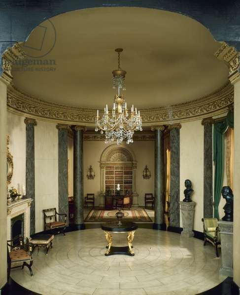 E-13: English Rotunda and Library of the Regency Period, 1810-20, c.1937 (miniature room, mixed media)