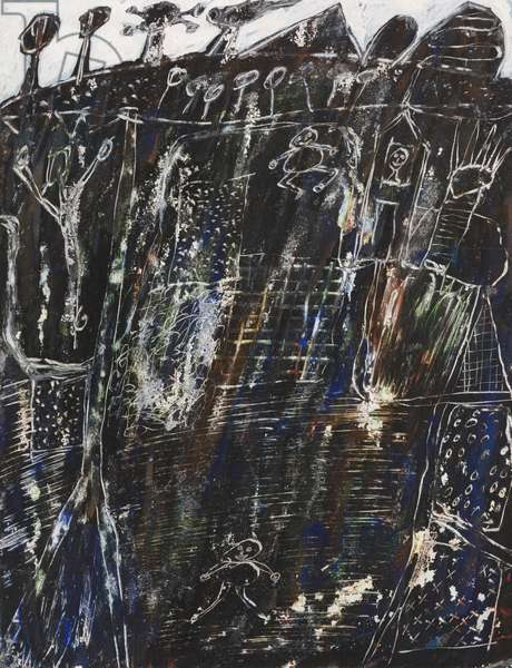 The Country, 1946-–48 (gouache, with scratching & scraping, on dark tan wove paper, prepared with a white & colored gouache ground)
