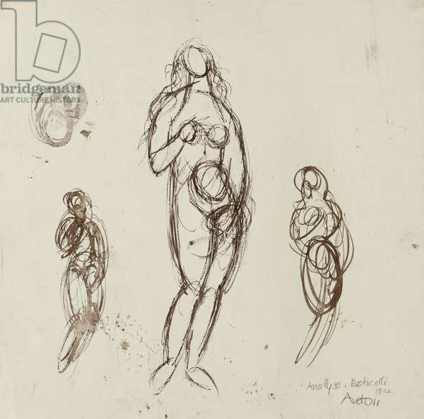 Analysis: Botticelli, 1922 (pen & brown ink on ivory wove paper, prepared with a white ground)