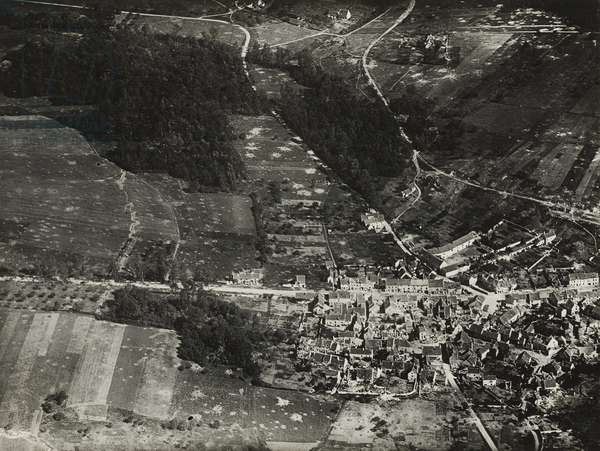 Town of Vaux near Château Thierry, day before American attack, June 30, 1918 (gelatin silver print, from loose-leaf album of aerial photos)