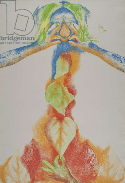 Catalpa Maiden about to Touch Herself, 1973 (colour lithograph on gray handmade wove paper)