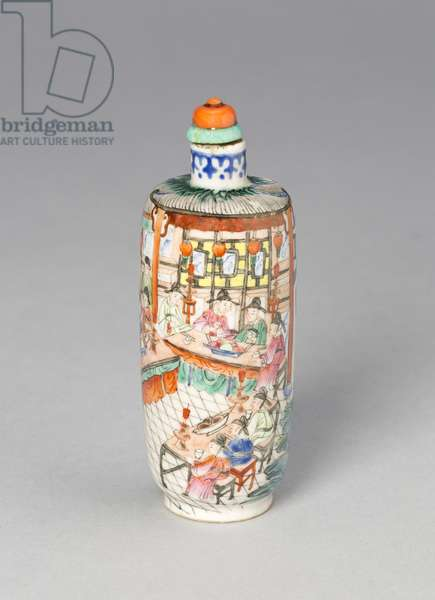 Snuff Bottle with a Scene from the Dream of the Red Chamber, Jiaqing reign mark, 1796-1820 (porcelain painted in overglaze enamels)