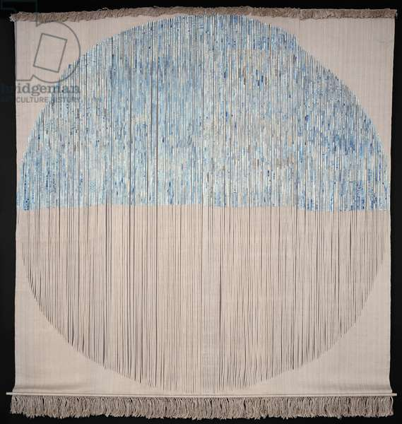 Waters Above the Firmament, 1976 (linen, warp-faced weft-ribbed plain weave with discontinuous wefts; 18th/19th century manuscript pages cut into strips, attached, and painted with liquitex acrylic paint; braided, knotted, and cut warp fringe)