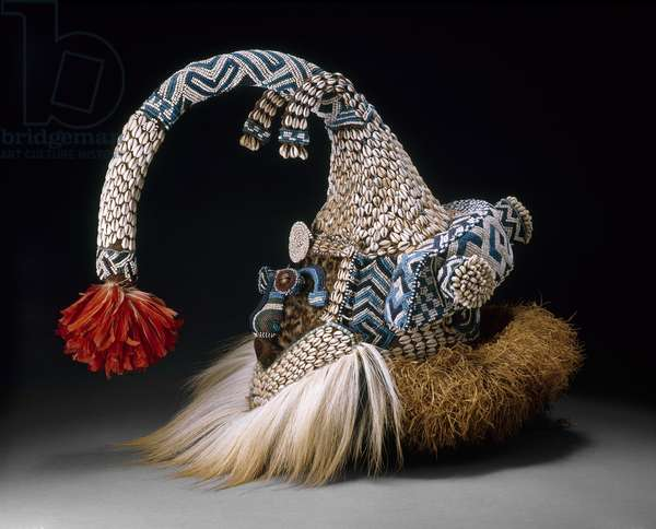 Mask (Mukenga), Late 19th-mid-20th century (wood, glass beads, cowrie shells, feathers, raffia, fur, fabric, thread & bells)