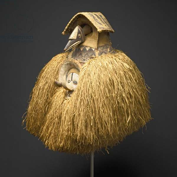 Mask (Kholuka or Mbala), late 19th-early 20th century (wood, raffia fibre, & pigment)