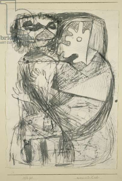 Masked Love, 1932 (pen & brush and grey ink, on off-white japanese paper, tipped on cream wove card)