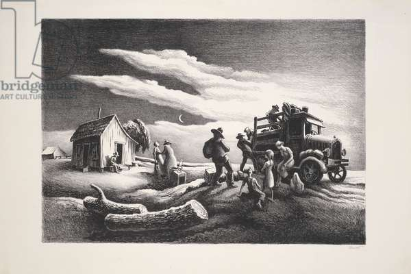 Departure of the Joads, from The Grapes of Wrath, 1939 (lithograph on ivory wove paper)