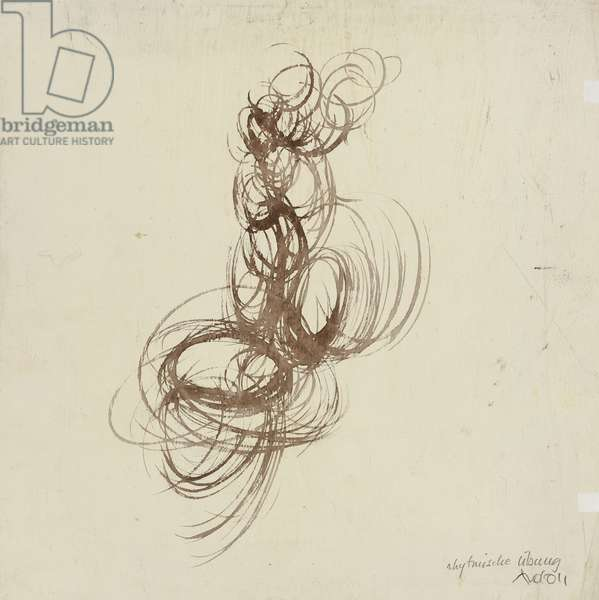 Rhythmic Exercise, 1922 (pen & brown ink on ivory wove paper, prepared with a white ground)