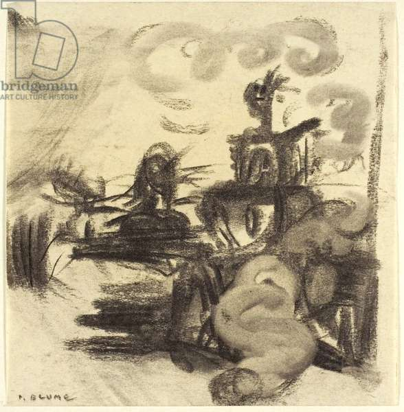 Study for The Rock, c.1943-48 (charcoal, with stumping, on ivory wove paper, tipped onto cream wove paper)