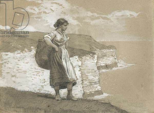 Flamborough Head, England, 1882 (graphite & opaque white w/c on medium thick, slightly textured, tan laid paper with red and blue fibres)