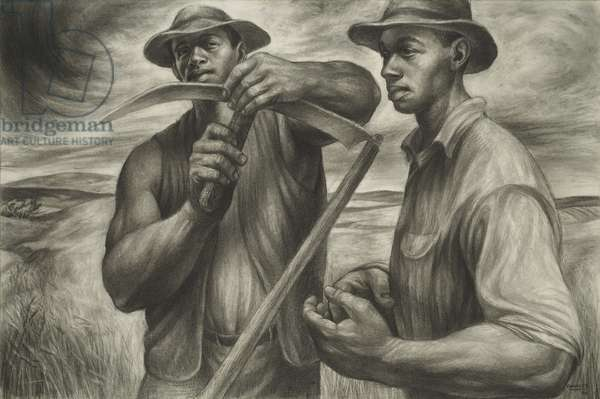 Harvest Talk, 1953 (charcoal, Wolff's carbon drawing pencil, & graphite, with stumping & erasing on ivory wood pulp laminate board)