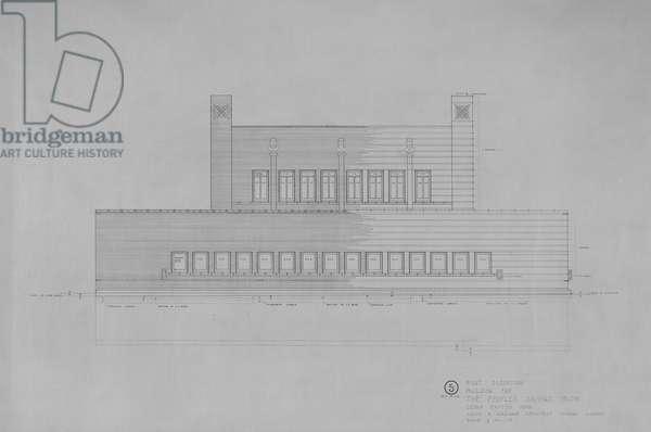 Peoples Savings Bank, Cedar Rapids, Iowa: East Elevation, 1909-11 (black & red ink on linen)