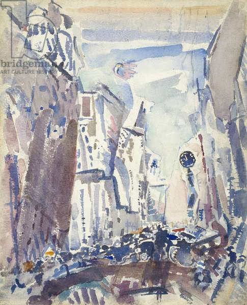 Movement: Fifth Avenue, 1912 (w/c with blotting & traces of scraping & graphite on paper)