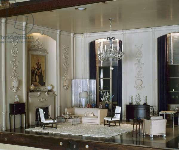 E-15: English Drawing Room of the Modern Period, 1930s, c.1937 (miniature room, mixed media)