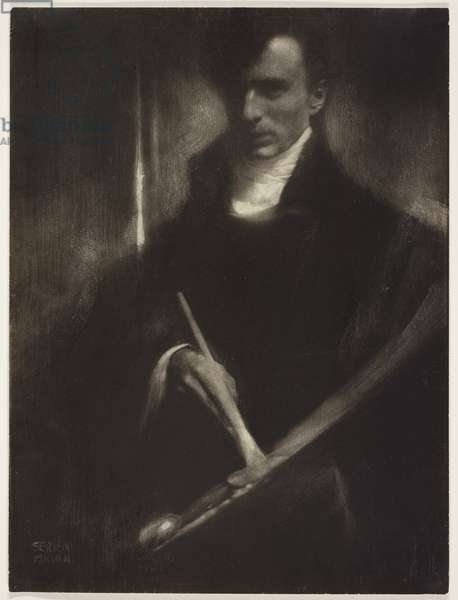 Self portrait with brush and palette, 1902 (gum bichromate print)