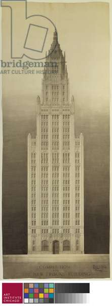 Chicago Tribune Tower Competition Entry: Michigan Avenue Elevation, 1922 (ink, graphite, and wash on paper)