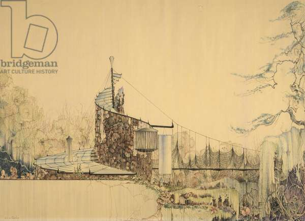 Gene and Nancy Bavinger House: South Elevation Showing Suspension Bridge over Ravine, 1950-51 (coloured pencil on lineprint on paper)