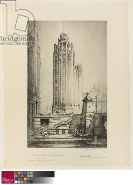 The Chicago Tribune Tower, c.1933 (etching on cream laid paper)