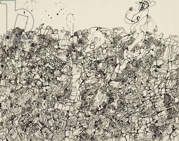 Garden, 1952 (pen & black ink on ivory wove paper)