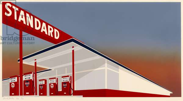 Standard Station, 1966 (colour screenprint on ivory wove paper)
