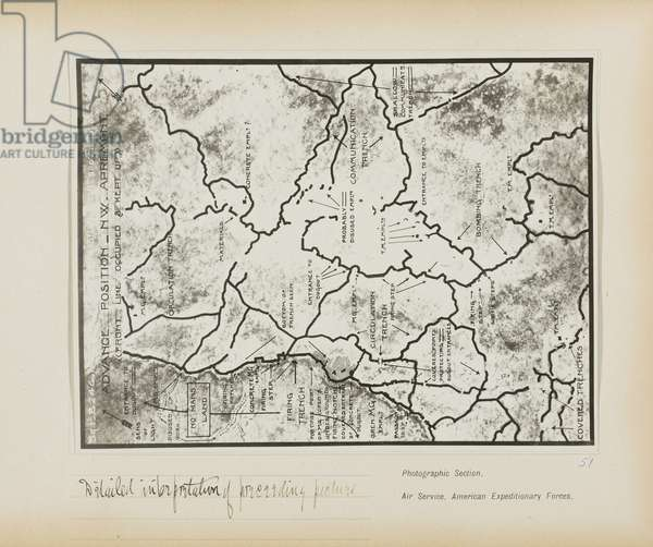Detailed interpretation of preceding picture, Apremont, May 15, 1918 (gelatin silver print)