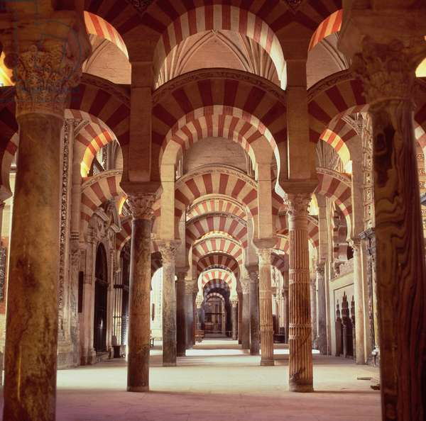 131-0057482 Interior of the Great Mosque showing bays of two-tiered horseshoe arches, 785 (photo)
