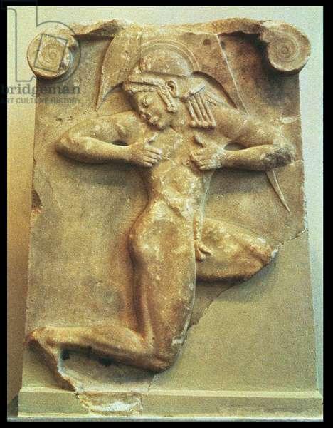 200/0084419 Funerary stele depicting a nude Hoplite man running, Greek, c.500 BC (marble)