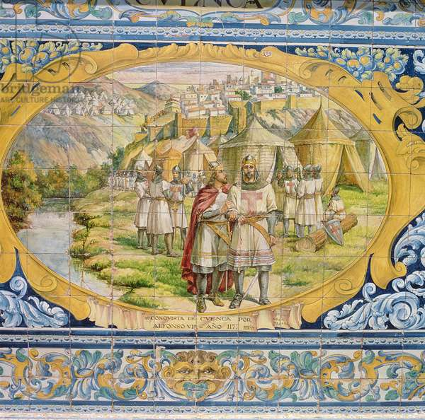 Alfonso VIII, King of Castile (c.1155-1214) Subdues Cuenca in 1177, 19th century (glazed ceramic tiles)