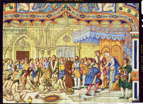 Tiles depicting the reception of Christopher Columbus by the Catholic Kings, Ferdinand of Aragon and Isabella of Castille in Barcelona on his return from America in 1492 (ceramic)