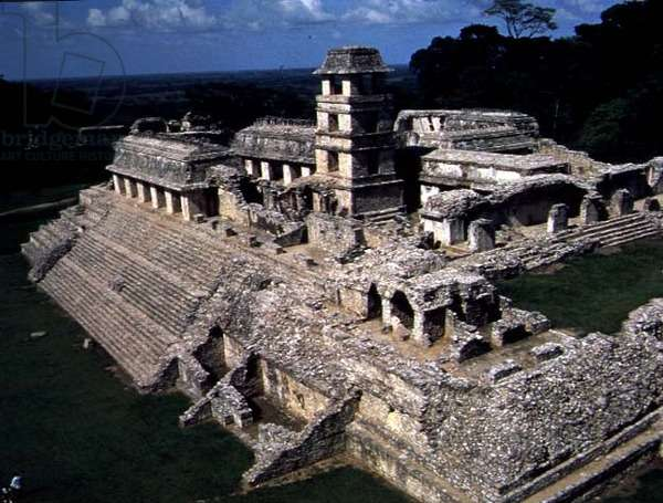 House C with a three-storey tower, in the main courtyard of the Palace, Maya c.692 AD (photo) (see also 114582)