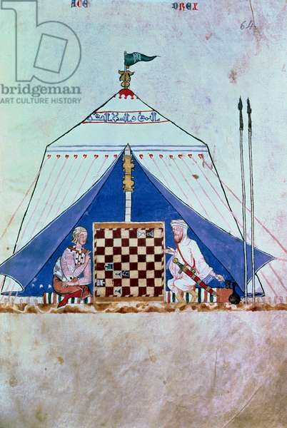 A Moor and a Christian playing chess in a tent, from the 'Book of Games, Chess, dice and Boards', 1282 (vellum)